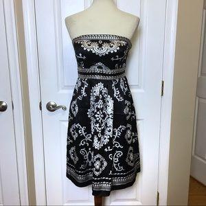 WHBM Strapless Medallion Print Silk Dress 4